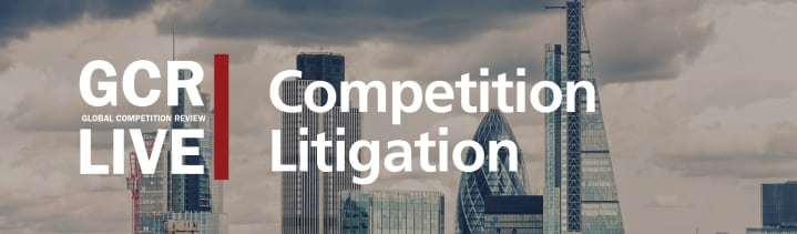 Skyline of London skyscrapers with text of competition litigation