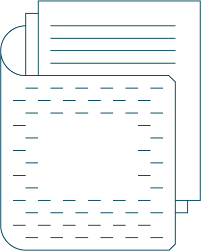 wire frame icon of a folder and paper for business information