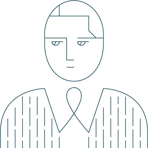 blue wire frank graphic icon of business man looking into the distance with his chest and head in view
