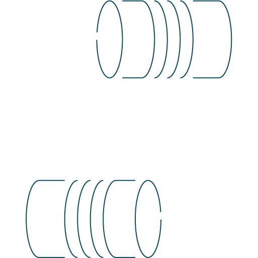 blue wire frame graphic icon of two tin cans with a string in between for speaking talking
