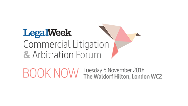 Legal Week graphic with text of event and book now