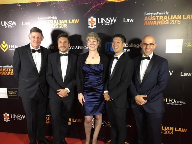 Augusta Australia team dressed formally at legal award event in Sydney
