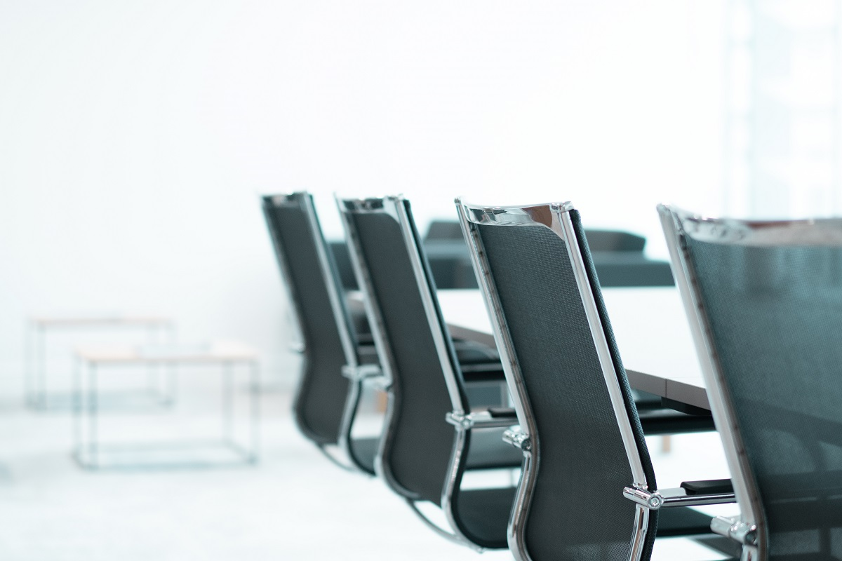 row of chairs in Augusta London business boardroom during the day