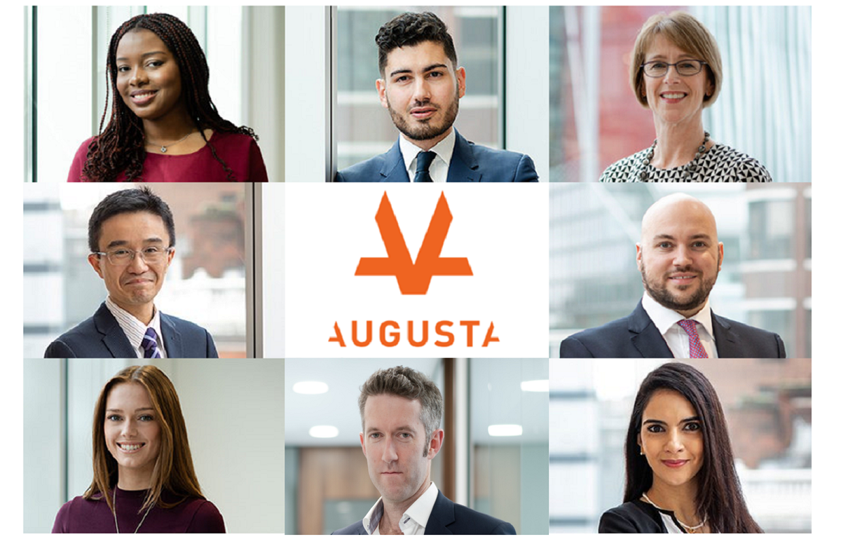 Collage of multiple diverse business Augusta Staff members and the orange Augusta logo at the centre