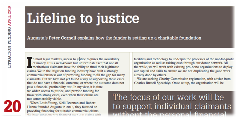 Article extract of Augusta Ventures Piece in Litigation Funding magazine