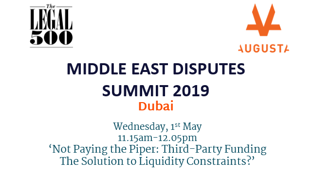 Graphic with white background and navy text discussing an event in Dubai with black The Legal 500 logo and Orange Augusta Logo