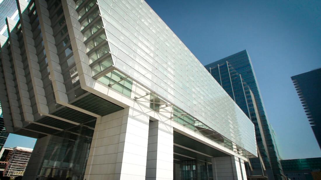 ADGM modern buildings in bright Abu Dhabi
