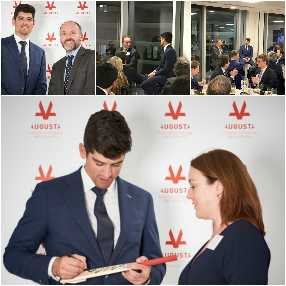 Former England Cricket Captain Alistair Cook standing infrom of Augusta branded board in the Augusta London offices while posing for photos and signing Cricket memorabilia