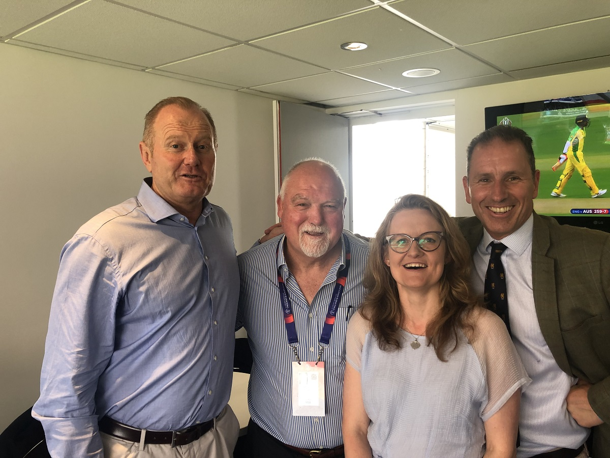 Managing Directors and founding partners Louis Young and Robert Hannah with Cheif Operating Officer Polly Bahl posing for photo with sitting with Former England Cricket player Matt Gatting in room while at Oval Cricket ground