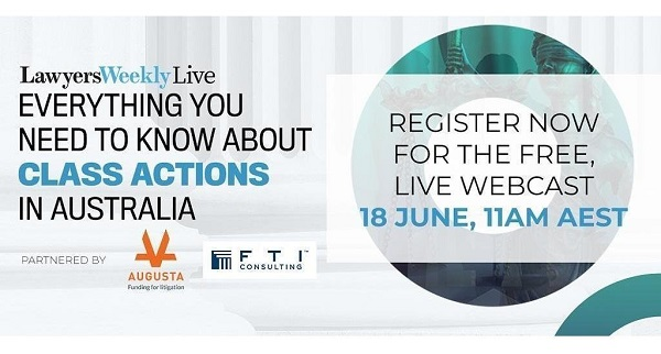 Info graphic with information about an Australian webcast on class action cases with FTI logo and orange Augusta logo