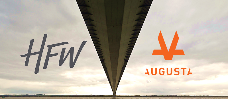Long bridge with perspective underneath from one side of the river to the next with HFW logo on the left and Augusta orange logo on the right