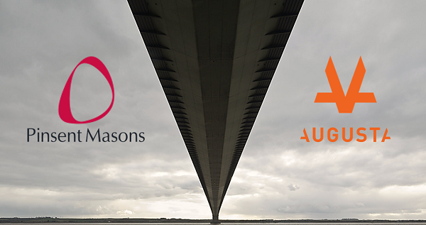 photo of the underneath of a bridge from one side of the river to the next with Pinsent Masons crimson logo on the left and Augusta Ventures orange logo on the right