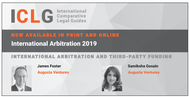Graphic with Head of arbitration James Foster and Investment manager Sam Gosains head shots with text highlighted their authored chapter in the ICLG arbitration book