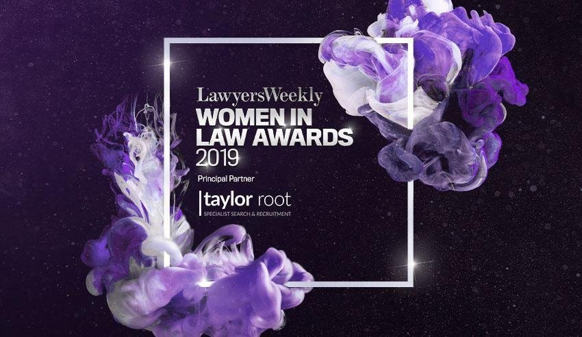 Purple graphics banner with text highlighting the women in law awards